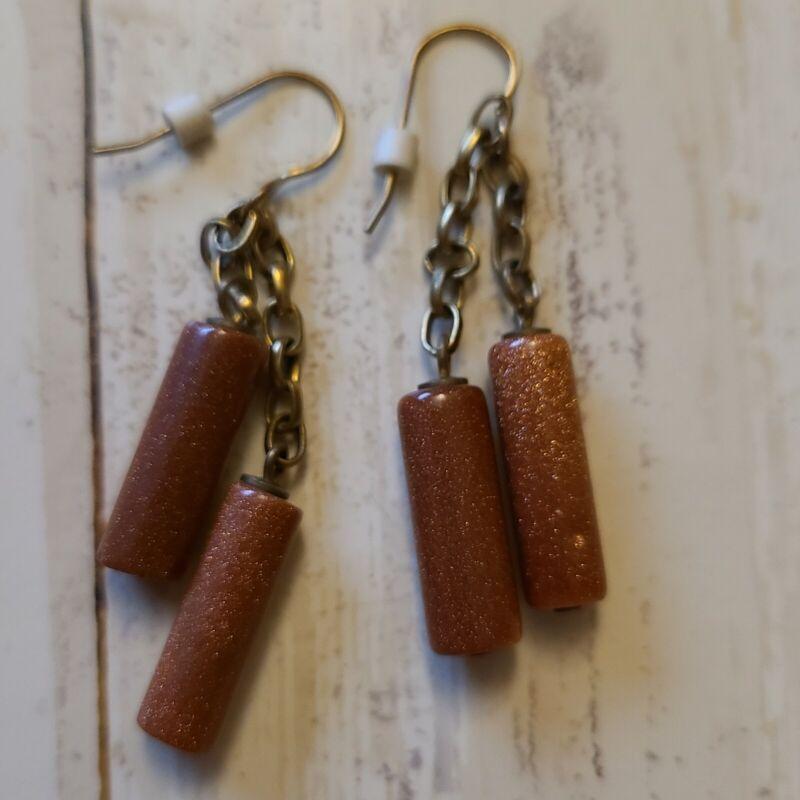 """2.5"""" goldstone pierced earrings brass double roll jewelry"""