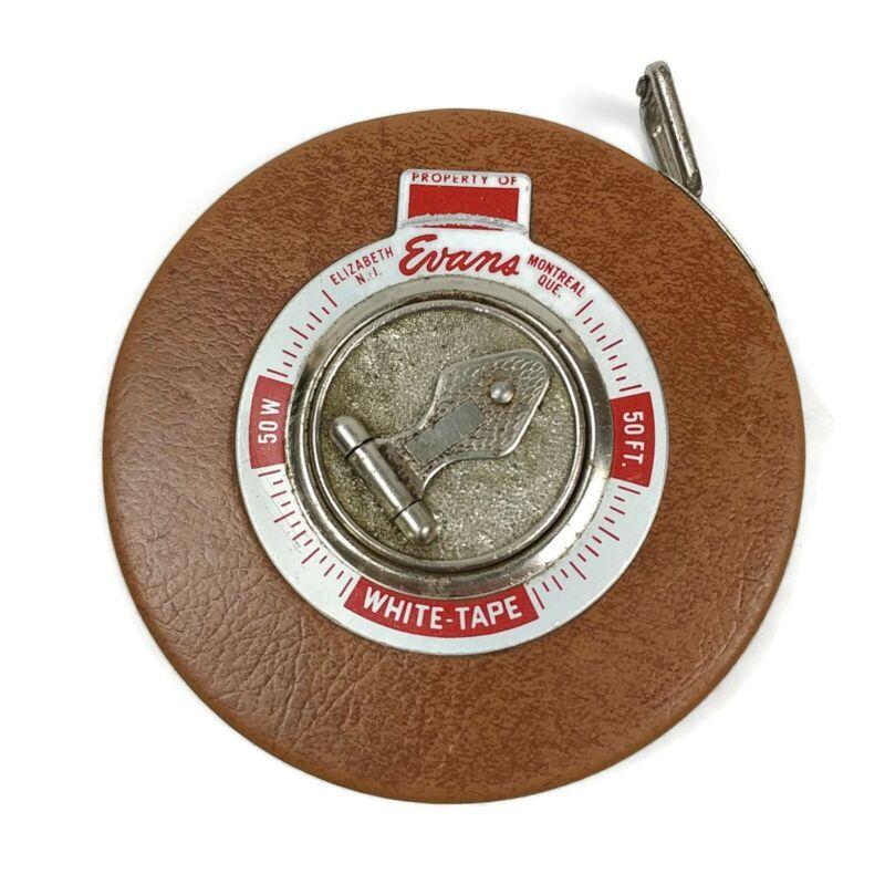 Vintage Evans & Co. 50 FT White Metal Tape Measure Original Case USA Canada