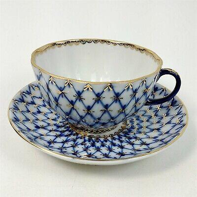 Lomonosov Imperial Porcelain Russian China Tea Cup & Saucer 24k Gold Blue Net Lomonosov Blue Net