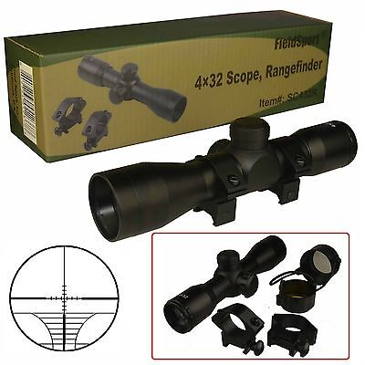 Field Sport Tactical 4X32 Compact  223  308 Scope  W Rings And Lens Cover
