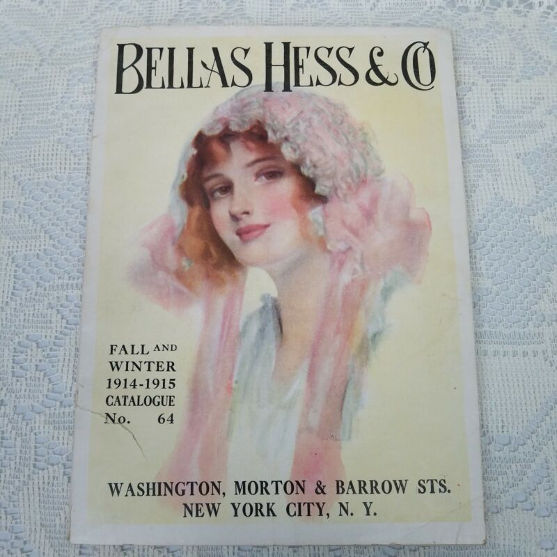 Rare Antique 1914 1915 Fall Winter Fashion Catalogue Bellas Hess & Co with color