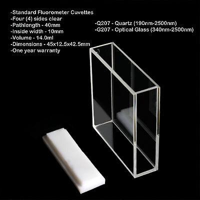 Azzota 40mm Pathlength Optical Glass Fluorometer Cuvettes - 14ml