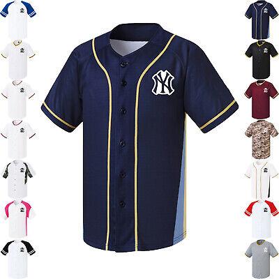 New York Yankees NY Button Jersey Baseball Uniform Raglan Open Shirt 1009 (Yankees Uniform)