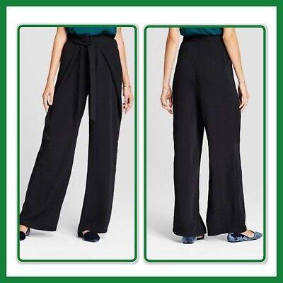 Crepe Tie - NEW * A NEW DAY Wide Leg WRAP AROUND & TIE WAIST Pants BLACK CREPE Sz 2 - 18