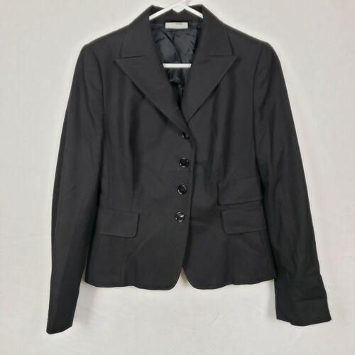 AKRIS Punto WOmens Blazer Size 10 Black Button Up Stretch Wool Blend Work Padded