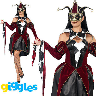 Gothic Harlequin Costume Ventian Evil Jester Womens Ladies Fancy Dress Outfit