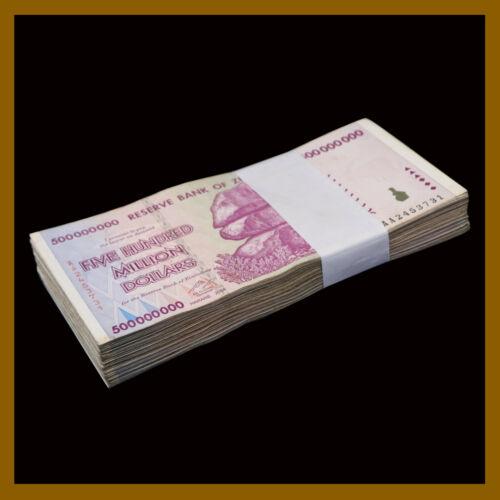 Zimbabwe 500 Million Dollars x 100 Pcs Bundle, 2008 AA/AB Cir, 100 Trillion Ser