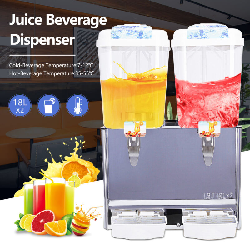 Commercial 18L* 2-Tank Juice Beverage Dispenser Cold Drink Fruit Ice Tea