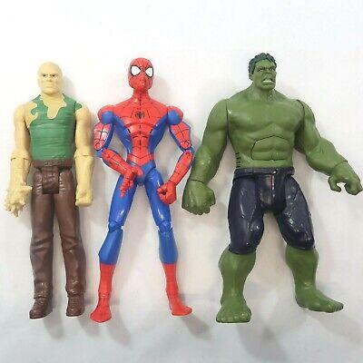 "Hasbro Lot Of 3 Marvel Action Figures 11"" Hulk (talking) & Spiderman & Sandman"