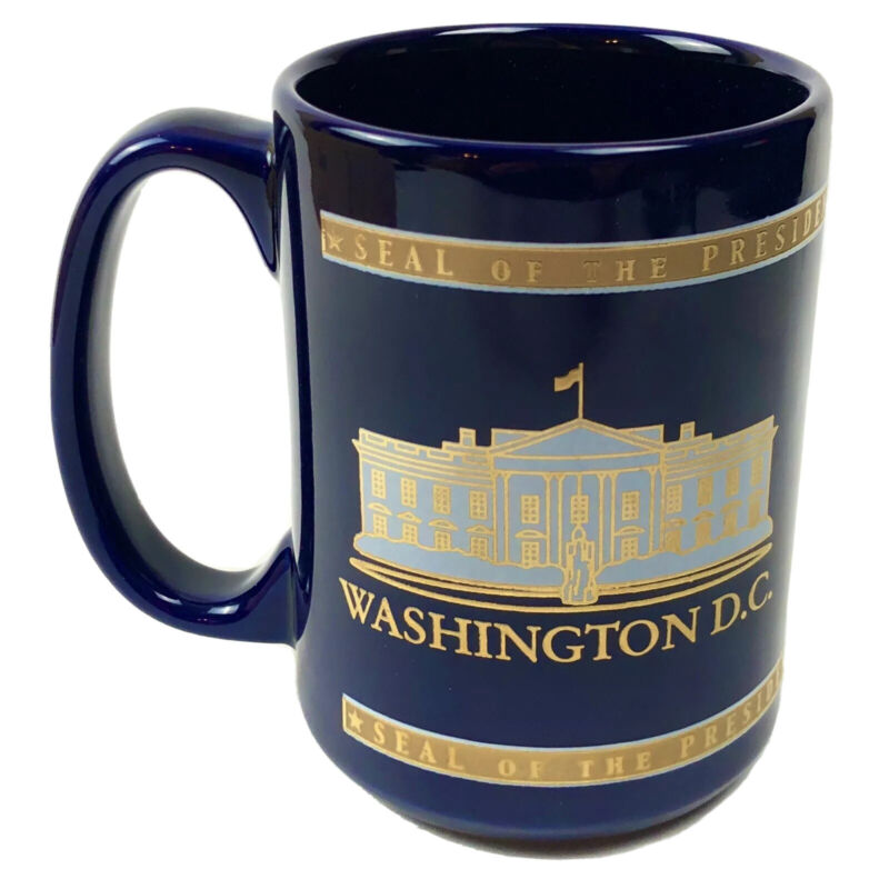 Washington DC The President of the United States Seal Blue Gold White Coffee Mug