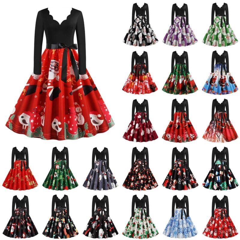Damen Weihnachtskleid V-Ausschnitt Swing Skaterkleid Weihnachten Xmas Partykleid