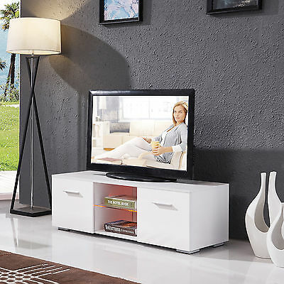 مكتبة تلفزيون جديد High Gloss TV Stand Unit Cabinet w/LED Shelves 2 Drawers Console Furniture White
