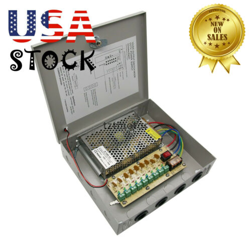 DC 12V 10A 9 Channel 8CH CCTV Security Camera Distribution Power Supply Box USA