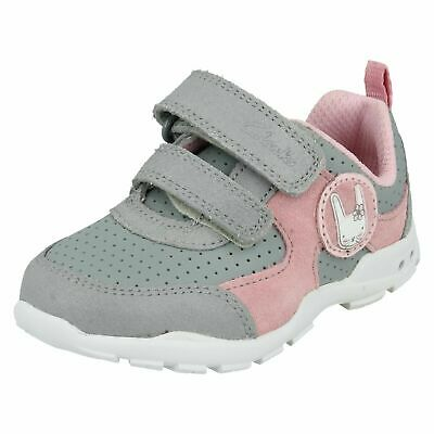 CLARKS Brite Wizz Grey Combi Girls First Trainers Size UK 5 1/2G for sale  London