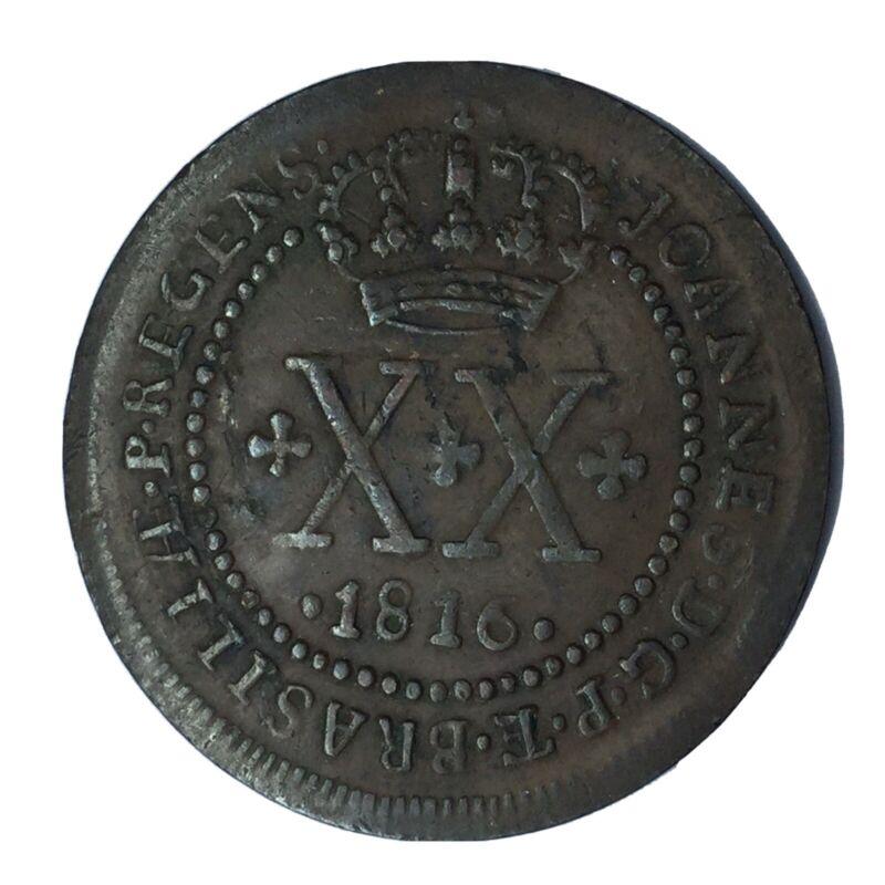 1816 R Brazil Copper 20 Reis VF #