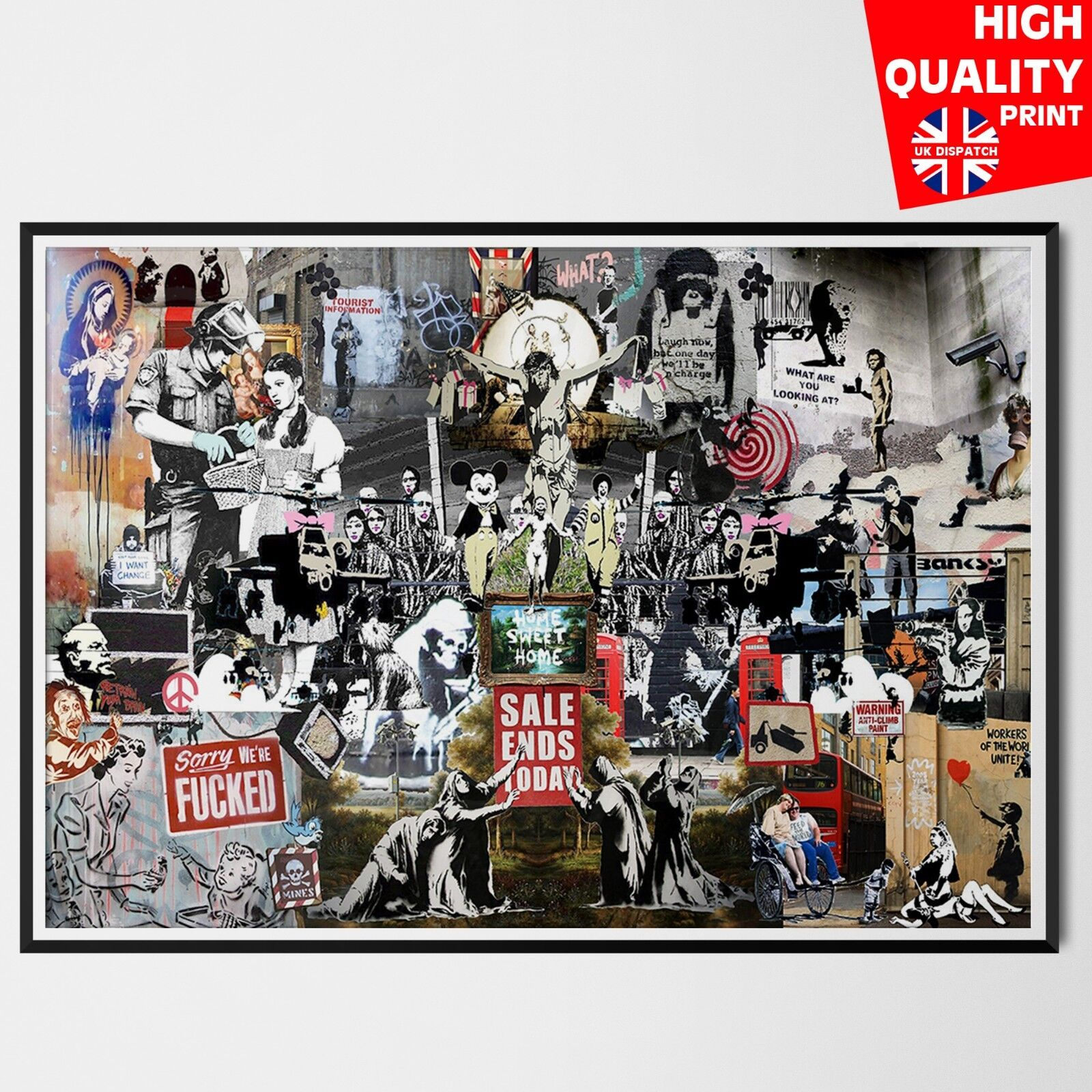 BANKSY POSTER PRINT GRAFFITI STREET ART COLLAGE WALL LARGE IMAGE GIANT HUGE GRAF