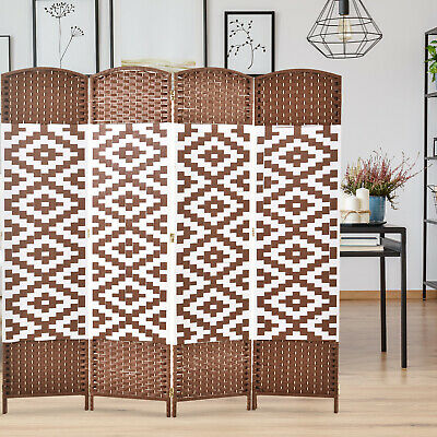 HomCom 6ft 4-Panel Diamond Weave Folding Room Divider w/ Stylish Wicker Material