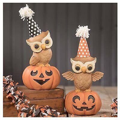 "Set/2 8"" Bethany Lowe Jack Lantern Party Owl On Pumpkin Retro Halloween Figurine"