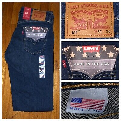 NWT Levi's 511 Dark Blue Slim Fit White Cone Oak Denim Jeans Size 32 X 36 USA