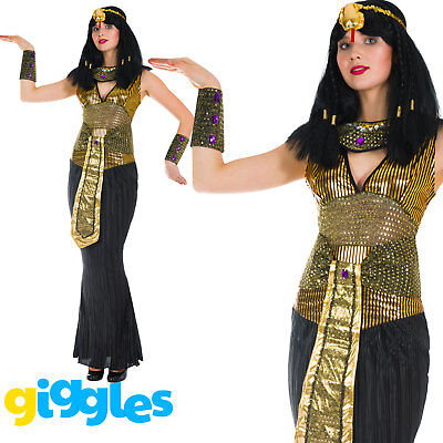 Womens Adult Cleopatra Costume Egyptian Princess Queen Fancy Dress Ladies Outfit - Female Egyptian Costume