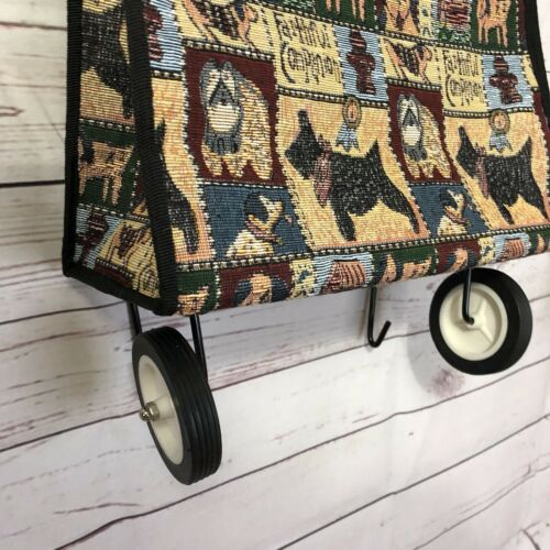 Jade Foldable Collapsible Wheeled Rolling Granny Travel Bag Cart Dogs Tapestry - $23.36