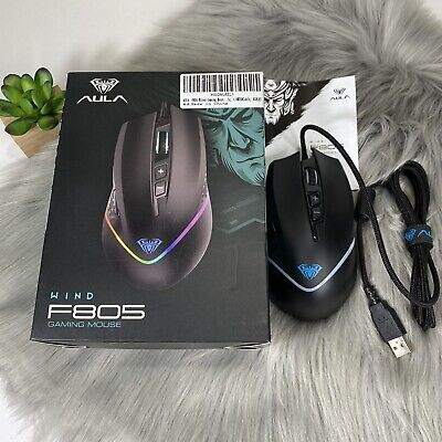 AULA F805 RGB Gaming Mouse Wired, with Side Buttons Programmable, 6400 DPI