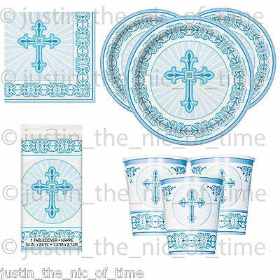 Communion Tableware (Christening Holy Communion Baptism Blue Boy Party Tableware Supplies)
