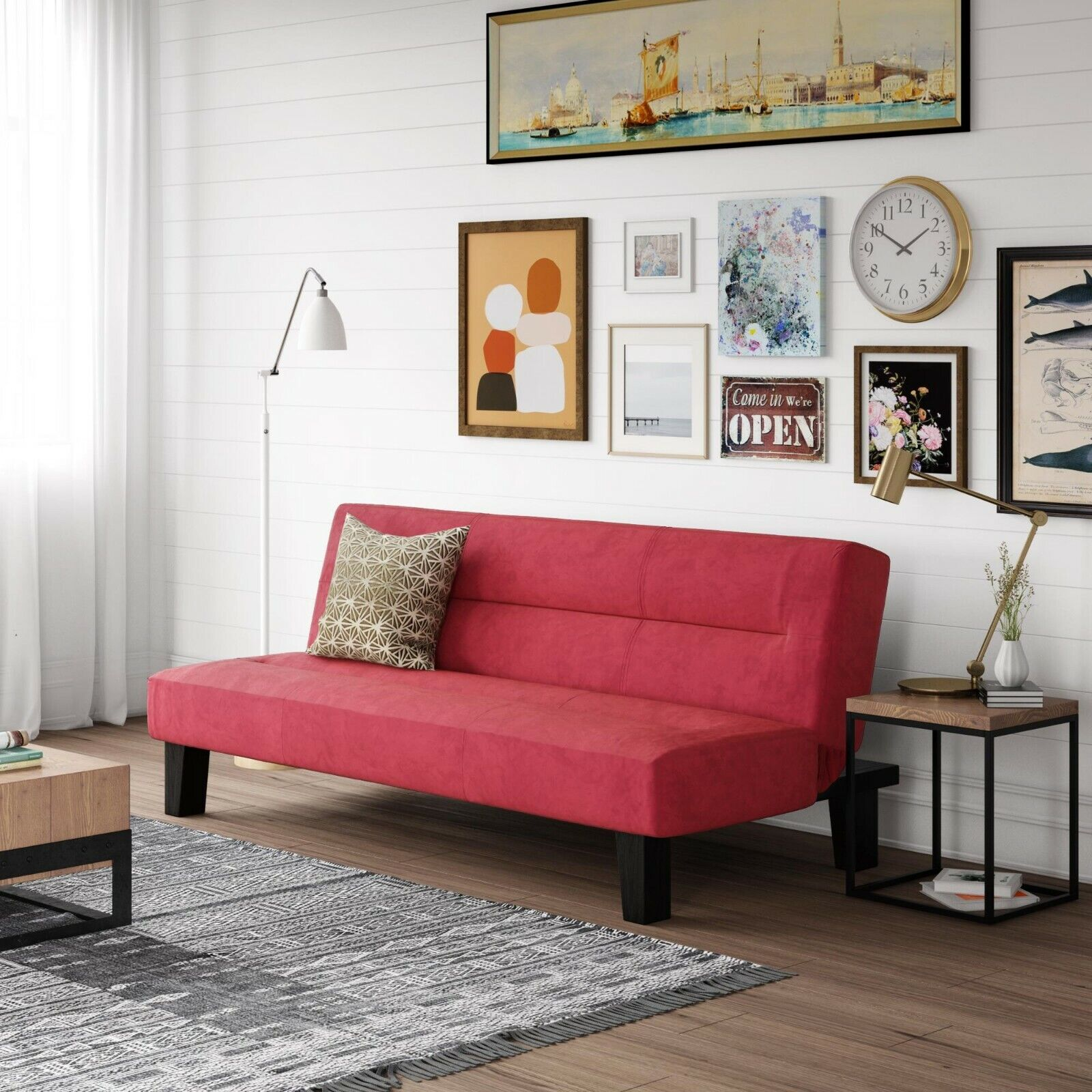Convertible Red Sofa Couch Sleeper Guest Bed Minimalistic De