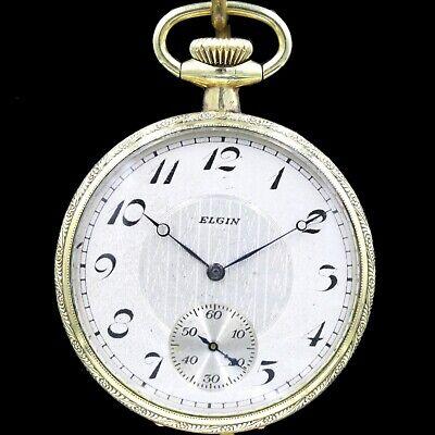 Gold 1922 ELGIN Mechanical Pocket Watch Grade 291 7 Jewels Large 16s Fancy NICE!