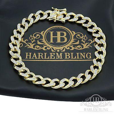 """Men Cuban Miami Link Bracelet 14k Gold Over Solid 925 Sterling Silver 8.5"""" Long"""