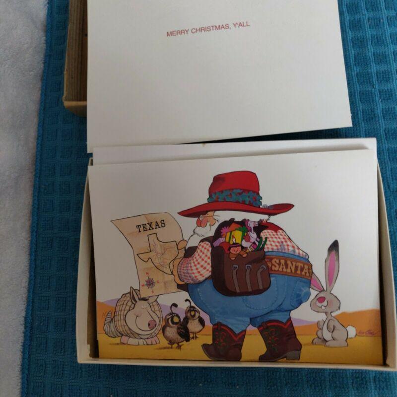 Texas Cowboy Santa Claus Holiday Cards 7 Cards - 8 Envelopes - unmatched box