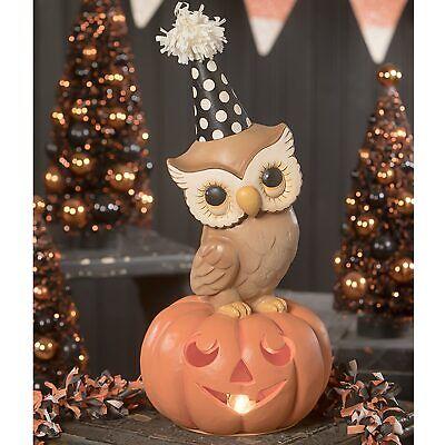 "13.5"" Bethany Lowe Jack JOL Party Owl On Pumpkin Retro Vntg Halloween Figurine"