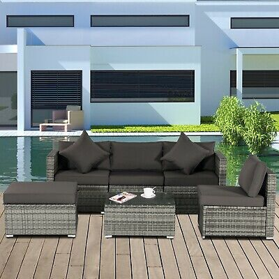 Garden Furniture - 5PC Rattan Wicker Sofa Set Outdoor Patio Garden Sectional Furniture Cushioned