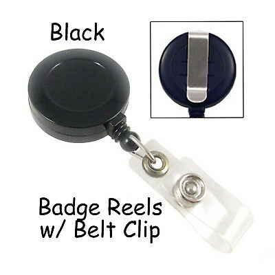1 Id Badge Reel Lanyard - Black - Retractable With Belt Clip Plastic Strap