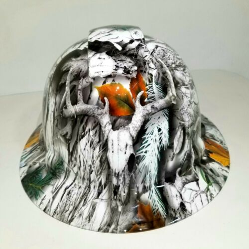 NEW FULL BRIM Hard Hat custom hydro dipped SNOW BUCK CAMO DEER HUNTER NEW SICK