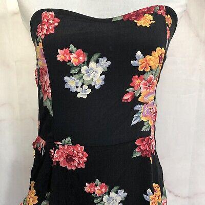 Forever 21 Black Floral Dress Sweetheart Neckline Off The Shoulder Size M Black Sweetheart Neckline Dress