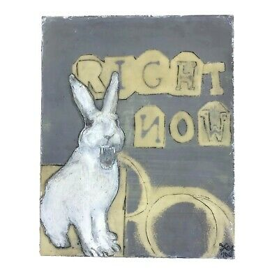 2010 Monoprint Scary Bunny Rabbit Wood Encaustic Acrylic Original Art Signed X-Y