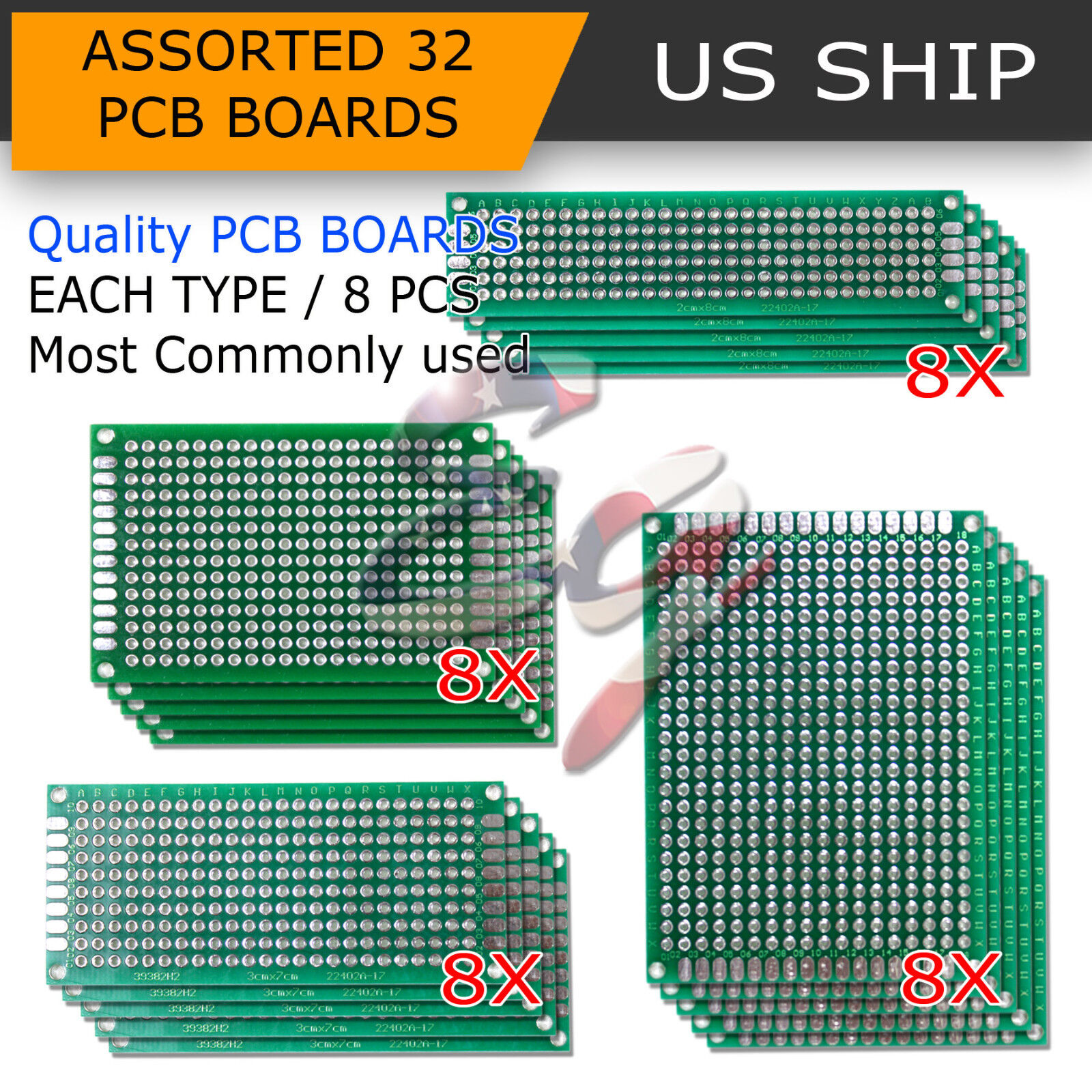 20 PCS Double Sided PCB Proto Perf Board Through Plated 2X8 3X7 4X6 5X7 Cm Sets