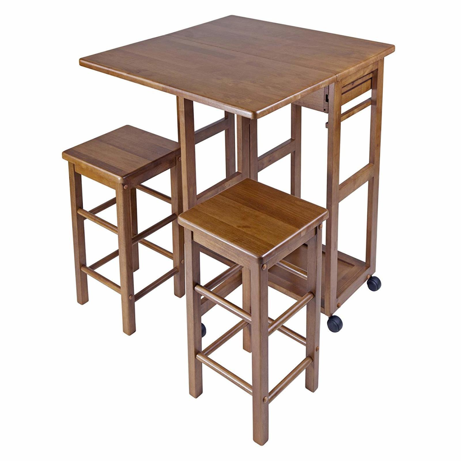Picture of: Small Space Dinning Set W Wooden Stool Chairs Wheeled Folding Kitchen Table Set 21713393302 Ebay