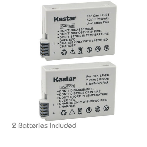 Kastar 2Pack Battery for Genuine OEM Canon LP-E8 Rebel T2i T3i T4i T5i 550D 600D