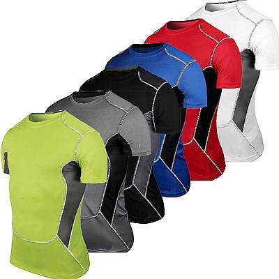 Herren Compression Körper Basisschicht Unterhemd Kurzärmlig Trainieren Skin Fit