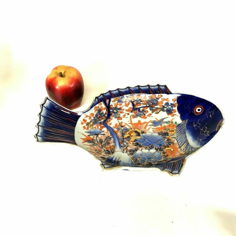 Antique Japanese Imari Porcelain Fish Shape Serving Bowl Signed #2