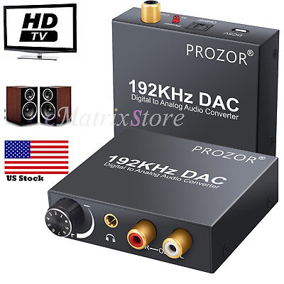 - 192kHz Digital Optical Coaxial Toslink to Analog RCA L/R 3.5mm Audio Converter