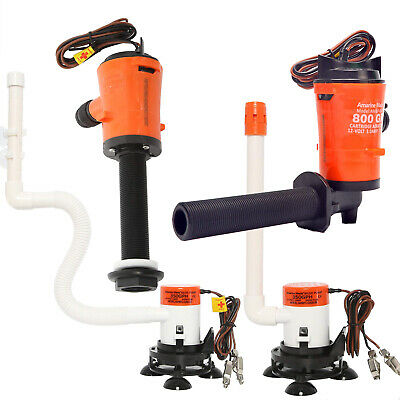 12V 800GPH 350GPH Boat Aerating Cartridge Livewell Baitwell Pump Kit Bilge Pump 350 Gph Pump Kit