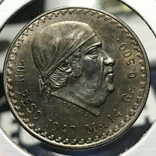 1948 MEXICO SILVER PESOS BRILLIANT UNCIRCULATED COIN