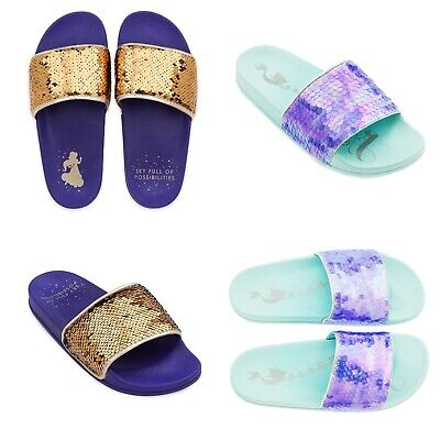 Disney Store Women's Little Mermaid Ariel Slides Aladdin Jasmine Flip Flops New