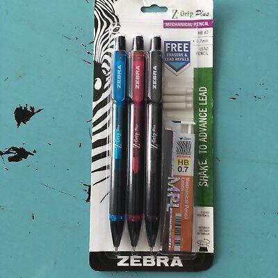 Zebra Z-grip Plus Mechanical Pencil 3-count Hb 2 0.7mm Blue Pink Black