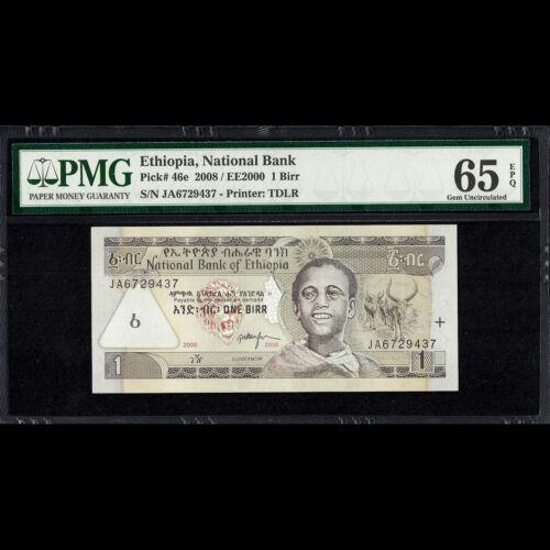 Ethiopia National Bank 1 Birr 2008 EE 2000 PMG 65 GEM UNCIRCULATED P-46e