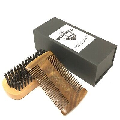 Felicare Natural Boar Bristle Beard Brush and Sandalwood Comb Set for -