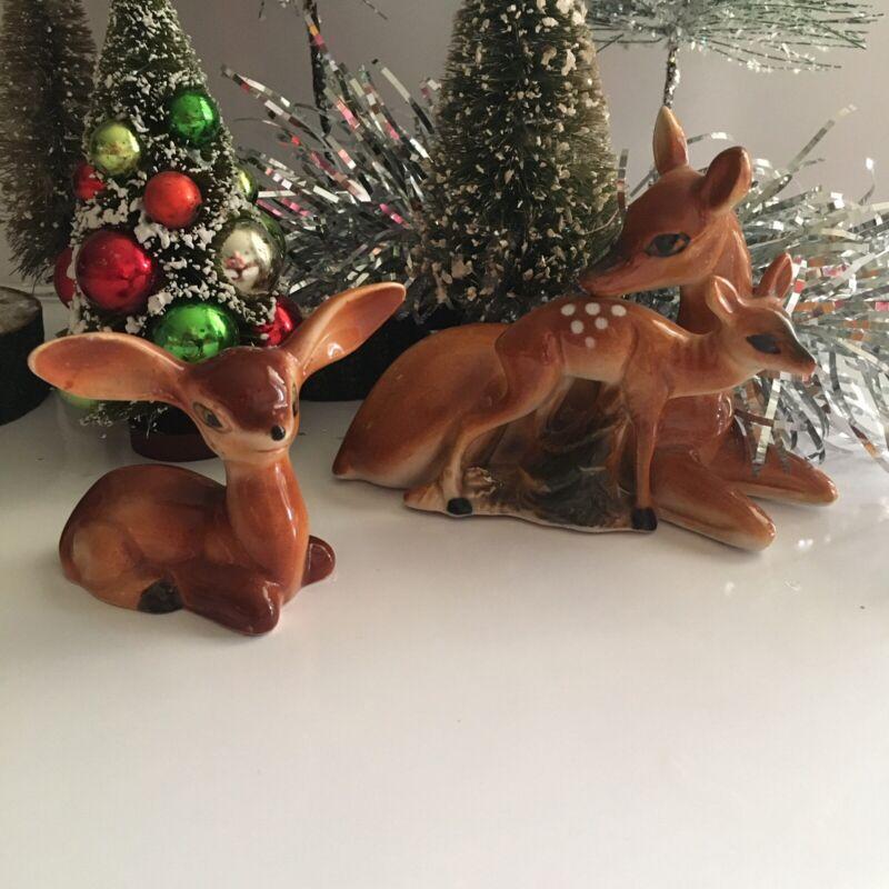 Vintage Japan Lot of  2 Porcelain Christmas Deer Figurines 🎄